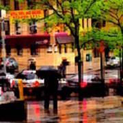 Reflections - New York City In The Rain Art Print