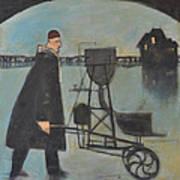 Man Walking Machine On Beach Art Print