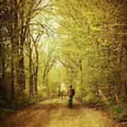 Man Walking  On A Lonely Country Road Art Print