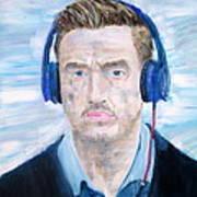 Man With Headphones Art Print