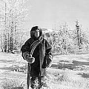 Man With Parka And Snowshoes Art Print