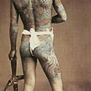 Man With Traditional Japanese Irezumi Tattoo Art Print by Japanese Photographer
