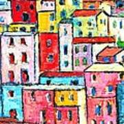 Manarola Colorful Houses Painting Detail Art Print