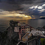 Manarola Sunset Storm Art Print