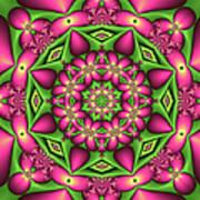 Mandala Green And Pink Art Print