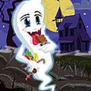 Manga Sweet Ghost At Halloween Art Print by Martin Davey