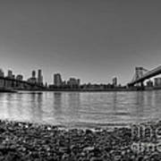 Manhattan And Brooklyn Bridge Fisheye Bw Art Print