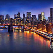 Manhattan At Dawn - Brooklyn Bridge Art Print