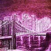 Manhattan At Night Enhanced Art Print