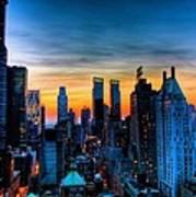Manhattan At Sunset Art Print