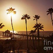 Manhattan Beach At Sunset Art Print
