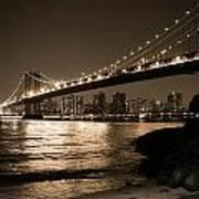 Manhattan Bridge At Night II Art Print