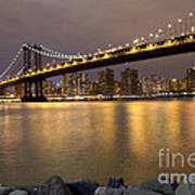 Manhattan Bridge Lights  Art Print