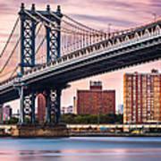 Manhattan Bridge Under A Purple Sunset Art Print