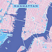Manhattan Map Graphic Art Print