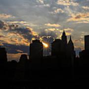 Manhattan Skyline At Sunset Art Print