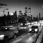 Manhattan Skyline Dusk 1980s Art Print