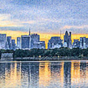Manhattan Skyline From Central Park Reservoir Nyc Usa Art Print
