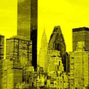 Manhattan Skyline In Yellow Art Print
