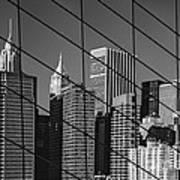 Manhattan Through The Brooklyn Bridge Art Print