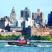 Manhattan - Tugboat Against Manhattan Skyline Art Print