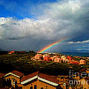Spanish Landscape Rainbow And Ocean View Art Print