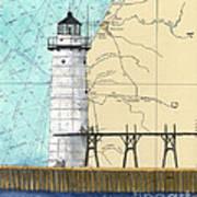 Manistee N Pierhead Lighthouse Mi Nautical Chart Map Art Art Print