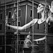 Mannequin In Storefront Shop Window In Black And White Art Print