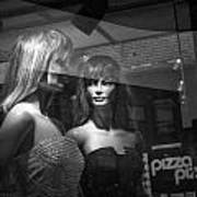 Mannequins In Storefront Window Display With Pizza Sign Art Print