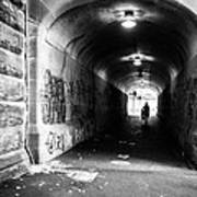 Man's Silhouette In Urban Tunnel Black And White Art Print