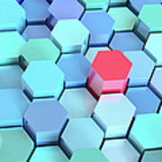 Many Blue Hexagons, Various Heights Art Print