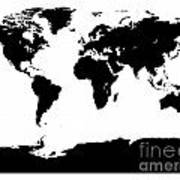 Map In Black And White Art Print
