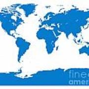 Map In Blue Art Print