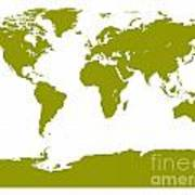 Map In Olive Green Art Print
