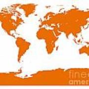 Map In Orange Art Print