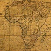 Map Of Africa Circa 1829 On Worn Canvas Art Print