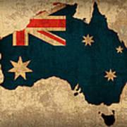 Map Of Australia With Flag Art On Distressed Worn Canvas Art Print