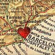 Map Of Barcelona Spain Espana Europe In A Antique Distressed Vin Art