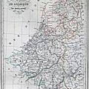 Map Of Belgium And Holland Or The Netherlands Art Print