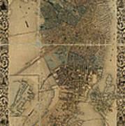 Map Of Boston 1852 Art Print