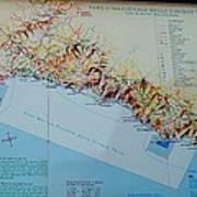 Map Of Cinque Terre Art Print