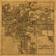 Map Of Denver Colorado City Street Railroad Schematic Cartography Circa 1903 On Worn Canvas Art Print