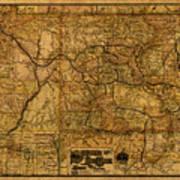 Map Of Denver Rio Grande Railroad System Including New Mexico Circa 1889 Art Print