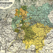 Map Of Germany 1861 Art Print