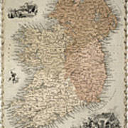 Map Of Ireland Art Print by C Montague