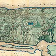 Map Of Manhattan Art Print
