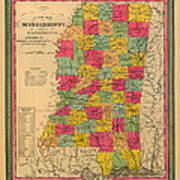 Map Of Mississippi 1850 Art Print