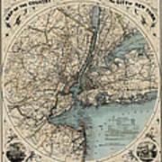 Map Of New York 1891 Art Print