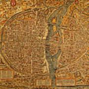 Map Of Paris France Circa 1550 On Worn Canvas Art Print