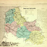 Map Of Pas De Calais France Drawing by French Calais France Map on